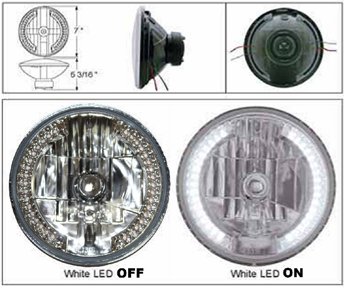 Parts -  Headlight -Halogen H4 With White LED Side Lights For Use As Running Lights Or Turn Signals 12v 7""