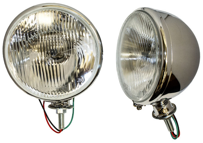 Parts -  7 Inch, 12 Volt Headlight Assembly Flat Lens H-4 Chrome Kingbee Style