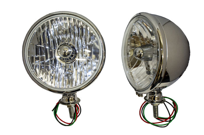 Parts -  7 Inch, 12 Volt Headlight Assembly Crystal Lens H-4 Chrome Kingbee Style