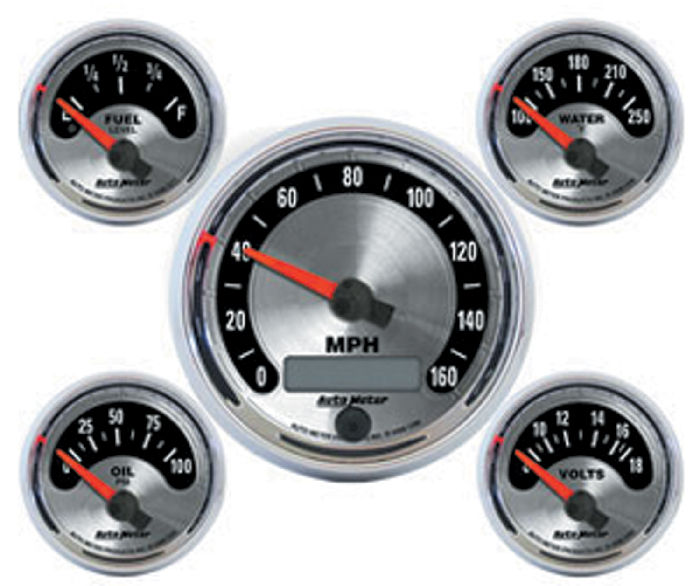 Electronic Auto Gauge Set : Street rod parts instrument gauges auto meter american
