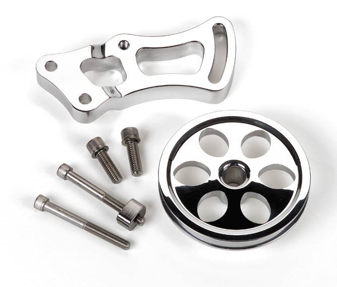Sbc Lt1 Small Block Chevy Polished Aluminun Ribbed Valve: Street Rod Parts » Chevrolet Power Steering Bracket