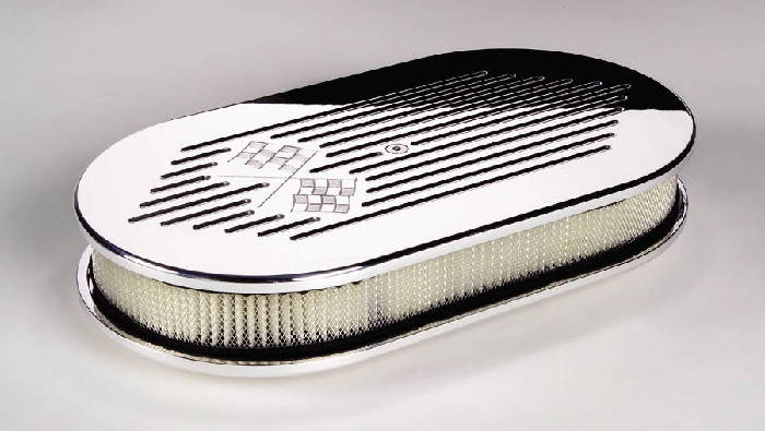 Street Rod Air Cleaners : Street rod parts air cleaner billet large oval cross flags