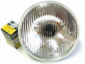 "Headlight -Clear Halogen Sealed Beam Replacement 6v 7"" With Flat Lens Photo Main"