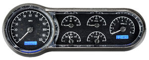 Dakota Digital - VHX System With Black Alloy Style Face and Blue Backlight - Six Gauges Including Tach Photo Main