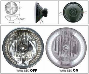 "Headlight -Halogen H4 With White LED Side Lights For Use As Running Lights Or Turn Signals 12v 7"" Photo Main"