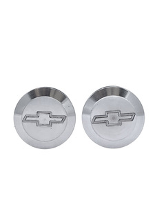 "Bed Caps - Aluminum With Bowtie. Plugs Bedside Hole (Polished Aluminum). 1-1/4"" I.d. Photo Main"
