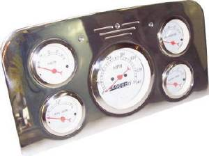 "Dash Panel 37-38 Ford Truck - Billet Aluminum, Polished - 5 Gauge 3-3/8"" Speedo Photo Main"