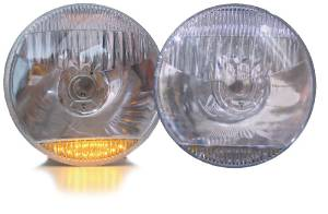 "Headlight, Halogen Lamp With Amber LED Park Lights Or Turn Signal Or Marker Lights 12V 7"" Photo Main"