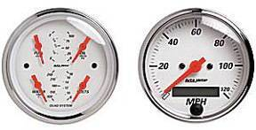 "Instrument Gauges - Auto Meter Arctic White Series, 3-3/8"" Quad Gauge & Speedo Kit (Electric) Photo Main"