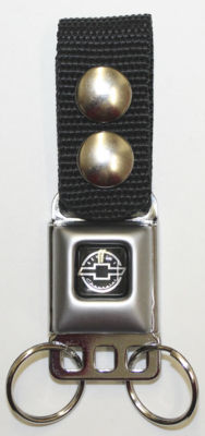 "Keychain With 1"" Black Nylon Webbing Attached To A Genuine Chevrolet Emblem Seatbelt Buckle Photo Main"