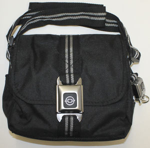 "Purse With Black Strap And Silver Stripe Webbing With Genuine ""Chevrolet"" Bowtie Buckle Photo Main"