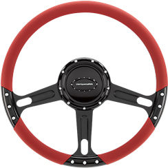 Billet Steering Wheel. Select Edition Half Wrap - 14 Inch, Boost Black Anodized Photo Main