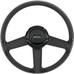 Billet Steering Wheel. Select Edition Half Wrap - 14 Inch, Throttle Black Anodized Photo Main