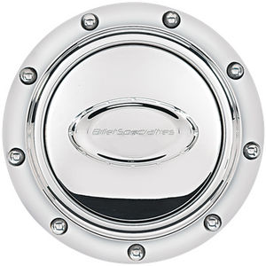 Horn Button, Billet Steering Wheel. Pro-Style Riveted - Polished Logo Photo Main