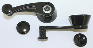 Window Crank Billet Interior Vent , Ball Milled - GM/Ford 1949 & Up - Black Anodized Photo Main
