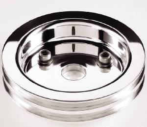 Crank Shaft Pulley, Billet Aluminum - Double Groove -Short Water Pump Photo Main