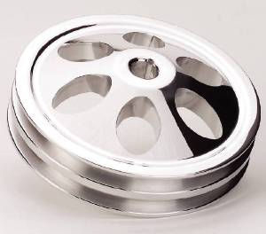 Power Steering Pulley, Billet Aluminum- Chevy SB, Double Groove, Keyway Photo Main