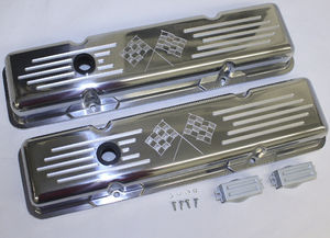 Valve Covers Billet Chevy SB, Cross Flags - Short Photo Main