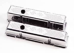 Valve Covers Billet  Chevy SB, Cross Flags - Tall Photo Main