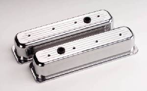 Valve Covers Billet. Chevy Sb, Center Bolt - Ball Milled - Tall Photo Main