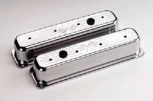 Valve Covers Billet. Chevy Sb, Center Bolt - Cross Flags - Tall Photo Main