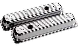Valve Covers Billet . Chevy Sb, Center Bolt - Ball Milled - Short Photo Main
