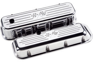 "Valve Covers, Chevy Big Block - Polished Billet Black ""Crossed Flags"" - Short Photo Main"