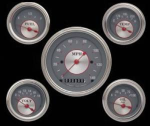 Instrument Gauges - (5 Gauge Set) - Silver Series With Curved Lens 12v Photo Main