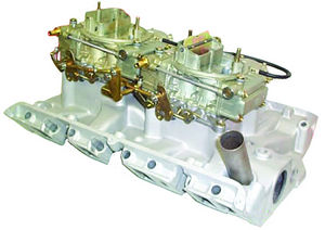 Induction Systems - Ford. Dual Quad Low Rise Ford Manifold With New 600 CFM BJ-BK Holley Carburetors - 390 & 427 Photo Main