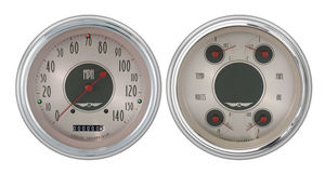 Instrument Gauges- All American Nickle With Red Pointer Direct Fit 12v Photo Main