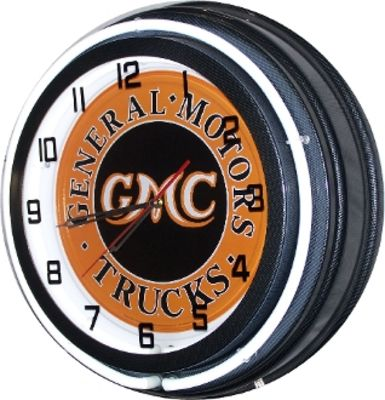 Clock White Neon GMC Truck Photo Main