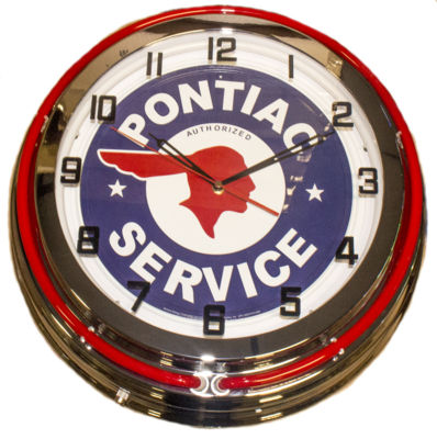 Clock Red Neon Pontiac Service Photo Main