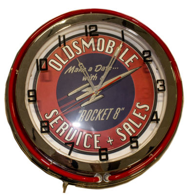Clock Red Neon Olds Rocket Photo Main