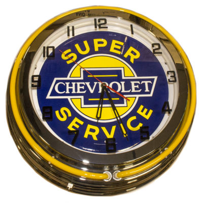 Clock Yellow Neon Super Chevy Service Photo Main