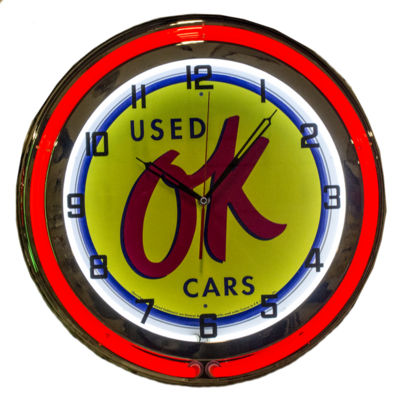 Clock Red Neon OK Used Cars Photo Main