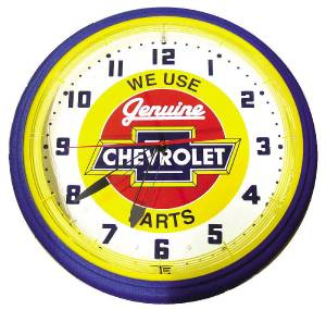 "Clock -Neon Genuine Chevrolet, Yellow Trim Large. 20"" X 5.5"" Photo Main"