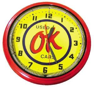 "Clock -Neon OK Used Cars, Large. 20"" X 5.5"" Photo Main"