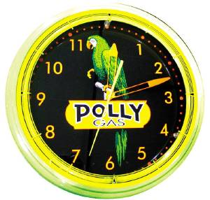 "Clock -Neon Polly Gas, Yellow Trim, Large. 20"" X 5.5"" Photo Main"