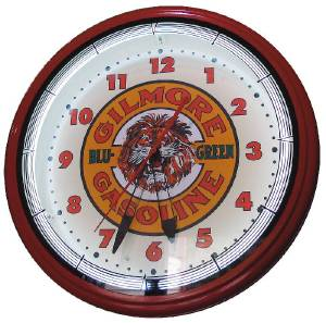 "Clock -Neon Gilmore Gasoline With White Neon & Red Trim Large. 20"" X 5.5"" Photo Main"