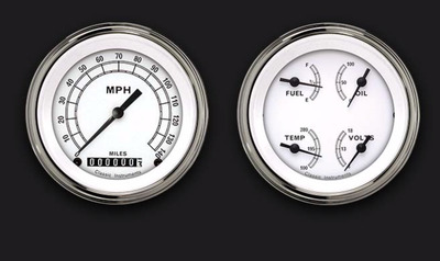 Instrument Gauges - (2 Gauge Set) - Classic White Series With Flat Lens 12v Photo Main