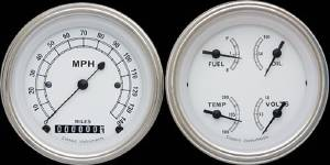 "Instrument Gauges - Ultimate Speedometer (3-3/8"") Speedo Tach Combo With Quad Gauge - Classic White Series With Curved Lens 12v Photo Main"