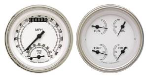 "Instrument Gauges - Ultimate Speedometer (3-3/8"") Speedo Tach Combo With Quad Gauge - Classic White Series With Flat Lens 12v Photo Main"