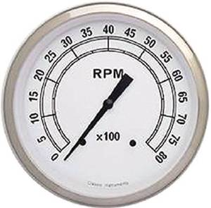 Instrument Gauges - Tach 8000rpm - Classic White Series - Curved Lens 12v Photo Main