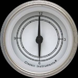 "New Classic Instruments Clock - Classic White Series . 2-1/8"" With Reset Button 12v Photo Main"