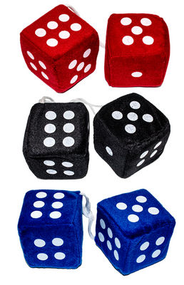 "Fuzzy Dice- Black, Red Or Blue 3""x3"" Pair Photo Main"