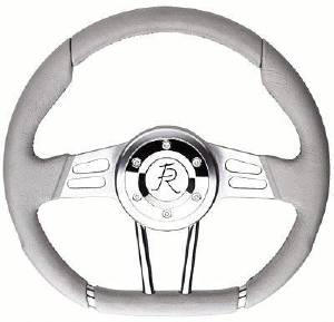"Steering Wheel. Flaming River -""D"" Wheel Grey 13.4"" Dia., 6-Bolt Photo Main"