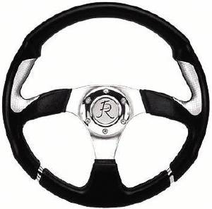 "Steering Wheel, Flaming River -Nova Black/Silver 13.8"" Dia., 6-Bolt Photo Main"