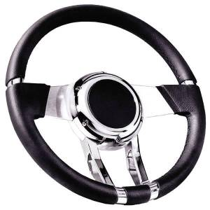 "Steering Wheel. Flaming River -Waterfall Black Leather, 13.8"" Diam. With 6 Bolt Mounting Flange Photo Main"