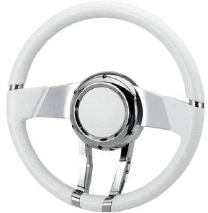 "Steering Wheel, Flaming River -Waterfall White Leather, 13.8"" Diam. With 6 Bolt Mounting Flange Photo Main"