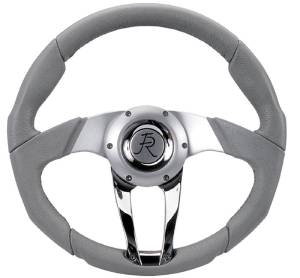 "Steering Wheel. Flaming River -Cascade Light Grey Leather, 13.8"" Diam. With 6 Bolt Mounting Flange Photo Main"